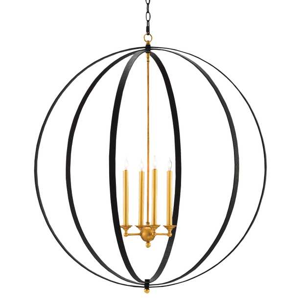 Ostrow Modern Classic Black Gold 4 Light Orb Chandelier - Kathy Kuo Home
