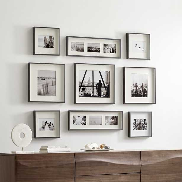 Brushed Gunmetal Picture Frame Gallery, Set of 9 - Crate and Barrel