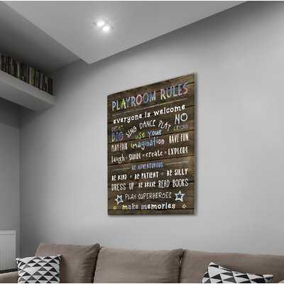 'Playroom Rules' Textual Art on Wrapped Canvas - Wayfair