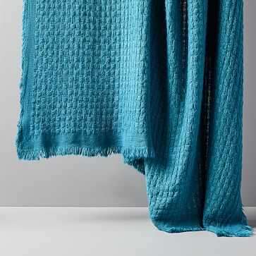 """Waffle Weave Throw, Blue Teal, 50""""x60"""" - West Elm"""