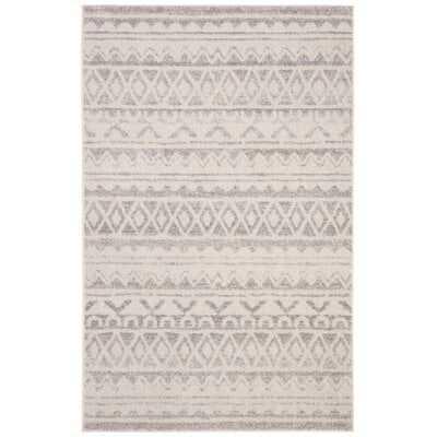Buckleton Ivory/Gray Area Rug, 9'x12', - Wayfair
