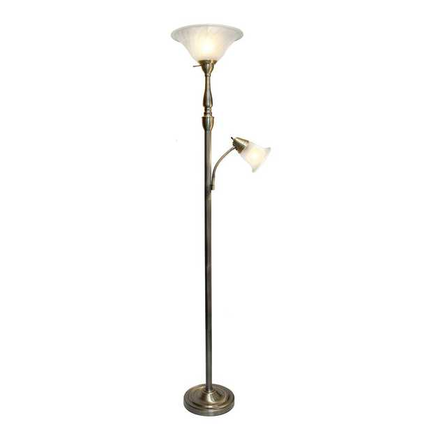 Elegant Designs 2-Light 71 in. Mother Daughter Antique Brass Floor Lamp with White Marble Glass - Home Depot