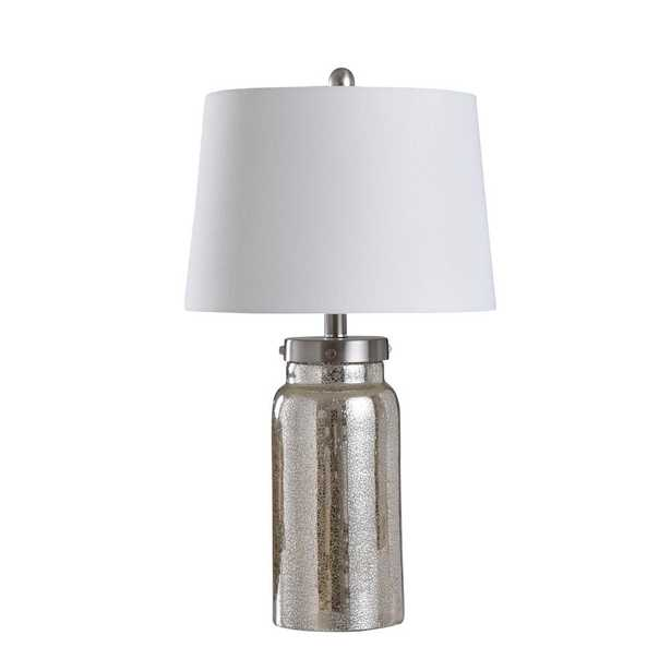 StyleCraft 25 in. Mercury/Silver Table Lamp with Brussels White Fabric Shade - Home Depot