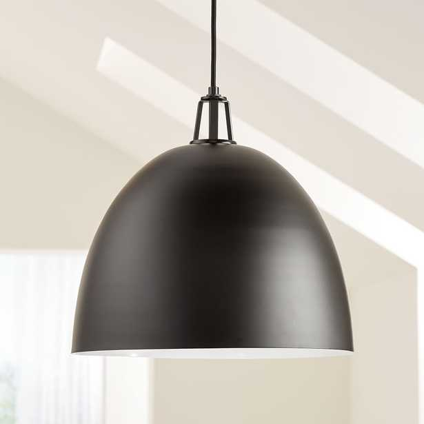 Maddox Black Dome Pendant Large with Black Socket - Crate and Barrel