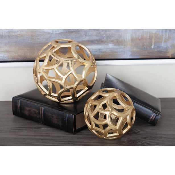 Modern Aluminum Gold Decorative Spheres (Set of 2) - Home Depot