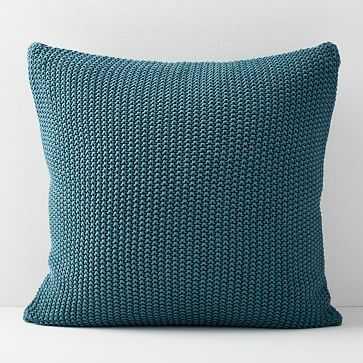 Cotton Knit Pillow Cover, Mineral Blue - West Elm