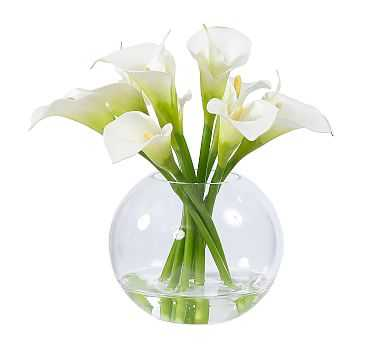 Faux Calla Lily in Glass Bowl - White - Pottery Barn