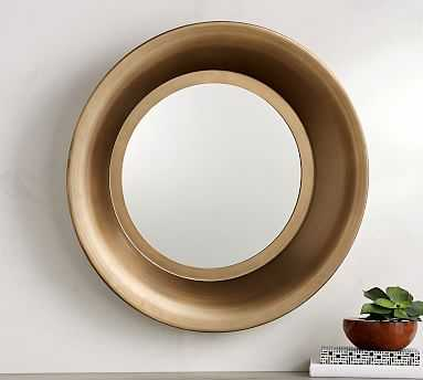 Reede Round Mirror, Gold - Pottery Barn