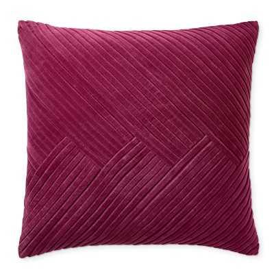"Pleated Velvet Pillow Cover, 22"" X 22"", Sangria - Williams Sonoma"