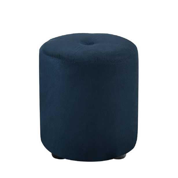 Pouf Blue Microfiber Round Ottoman, Dark Blue - Home Depot