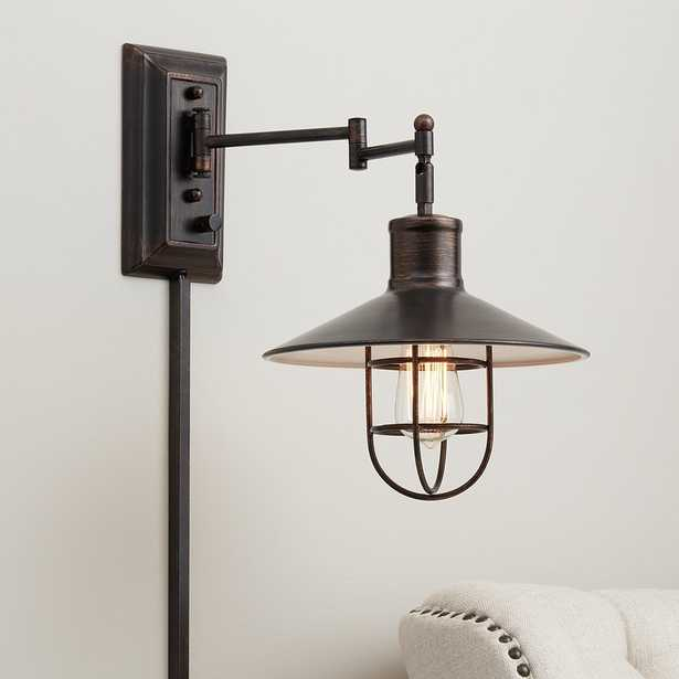 Hektor Brushed Bronze Plug-In Swing Arm Wall Lamp - Style # 19P50 - Lamps Plus