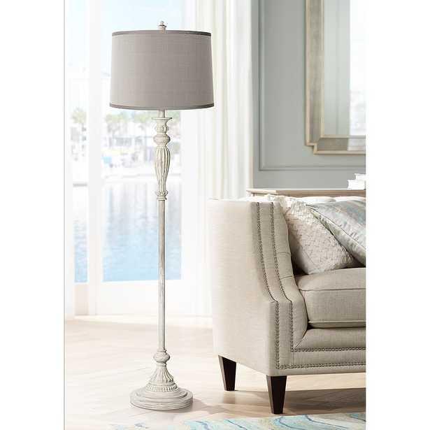 Platinum Gray Shade Vintage Chic Antique White Floor Lamp - Style # 17K23 - Lamps Plus