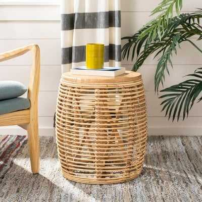 Amidon Rattan Drum End Table, Natural - Wayfair