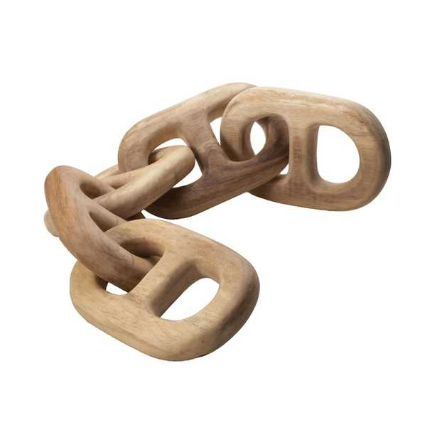 6 in. x 27 in. Hand Carved Chain Link Figurine in Natural Wood, Brown/Tan - Home Depot