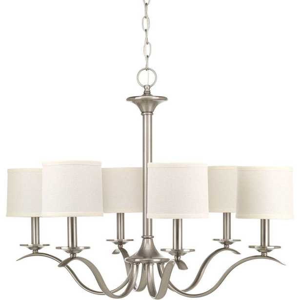 Progress Lighting Inspire Collection 6-Light Brushed Nickel Chandelier with Shade - Home Depot