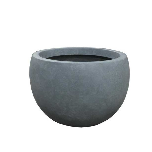 Large 19.7 in. x 19.7 in. x 13 in. Cement (Silver) Color Lightweight Concrete Bowl Planter - Home Depot