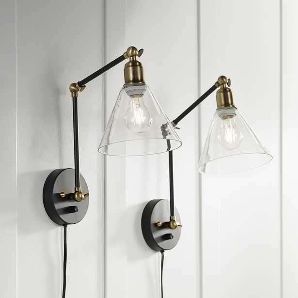 Wray Black and Brass Glass Shade Plug-In Wall Lamp Set of 2 - Style # 40R28 - Lamps Plus