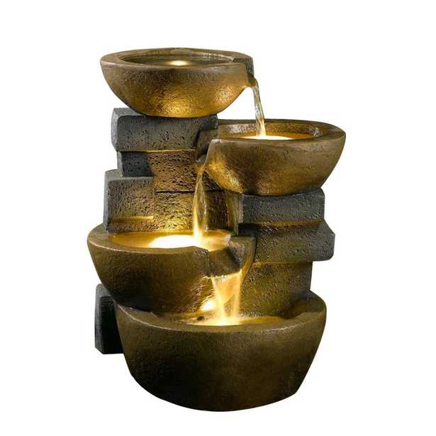 Pots Water Fountain with LED Light - Home Depot