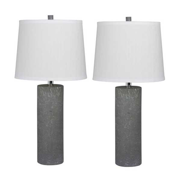 Fangio Lighting Pair of 26 in. Contemporary Column Ceramic Table Lamps in a Gray - Home Depot