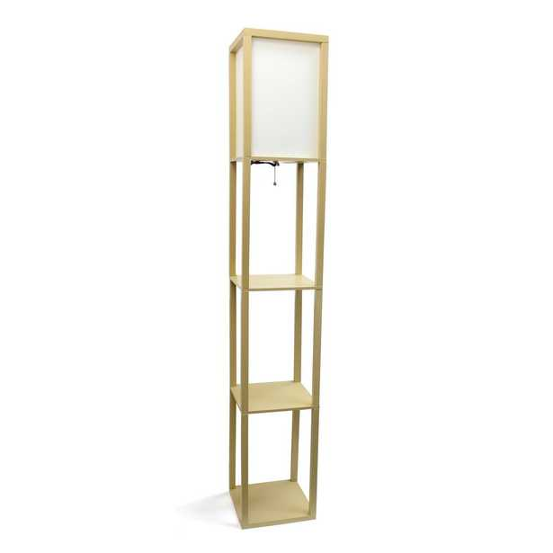 Simple Designs 62.75 in. Tan Floor Lamp Etagere Organizer Storage Shelf with Linen Shade - Home Depot