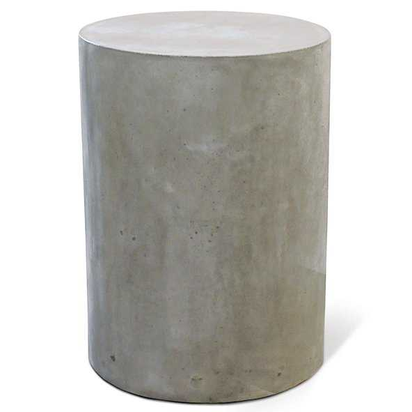 Xander Modern Round Grey Concrete Outdoor Side End Table - Kathy Kuo Home