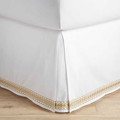 Lilly Pulitzer Organic Embroidered Trim Bed Skirt, Full, Gold - Pottery Barn Teen