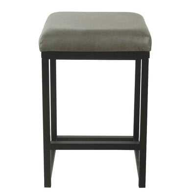Ebern Designs Open Back Counter Stool - Gray Faux Leather - Wayfair