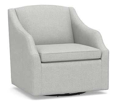 SoMa Emma Upholstered Swivel Armchair, Polyester Wrapped Cushions, Basketweave Slub Ash - Pottery Barn