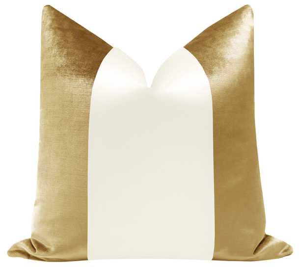 "PANEL Colorblock :: Faux Silk Velvet // Gold + Alabaster Silk - 12"" X 18"" - Little Design Company"