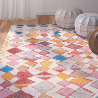 Zetta Hand-Tufted Orange/Pink Area Rug - Wayfair