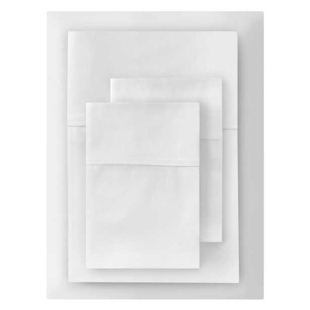 300 Thread Count Wrinkle Free USA Grown Cotton Sateen 4-Piece Queen Sheet Set in White - Home Depot