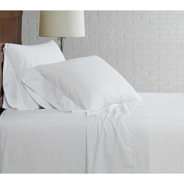 Brooklyn Loom Classic Cotton White King Sheet Set - Home Depot