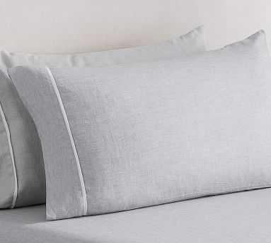 Belgian Flax Linen Contrast Flange Sheet Set, Cal. King, Smoke/White - Pottery Barn