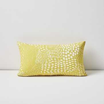 "Outdoor Dot Dashes Pillow, 12""x21"", Citrus Yellow - West Elm"