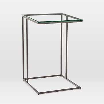 Streamline C-Side Table, Glass, Antique Bronze - West Elm