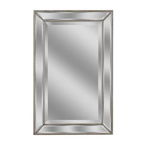 Deco Mirror 32 in. L x 20 in. W Metro Beaded Mirror in Silver, Champagne Silver - Home Depot