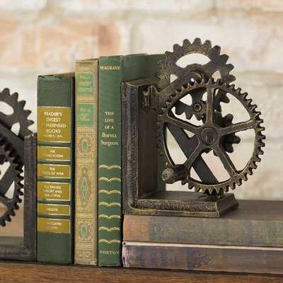 Industrial Gear Sculptural Iron Bookends - Birch Lane