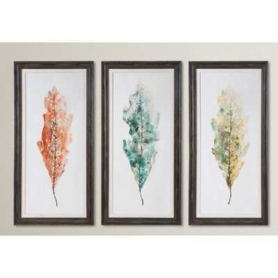 Tricolor Leaves Abstract Art 3 Piece Framed Painting Set - Wayfair
