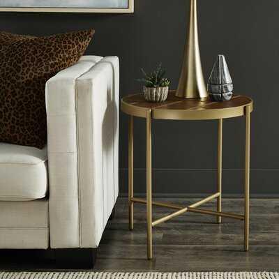 Gold Finish Powder Coat Metal Frame & Pu End Table - Wayfair