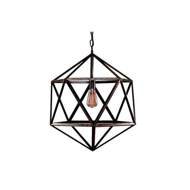Warehouse of Tiffany Caged 1-Light Black Steel Chandelier - Home Depot