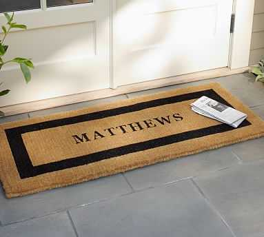 """Personalized Extra-Large Doormat, 30 x 48"""", Black - Pottery Barn"""
