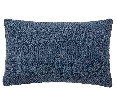 "Washed Linen Diamond Lumbar Pillow Cover, 16 x 26"", Sailor Blue - Pottery Barn"