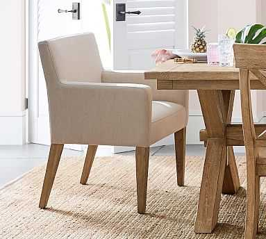 PB Classic Square Arm Upholstered Dining Armchair, Seadrift Frame, Twill Cream - Pottery Barn