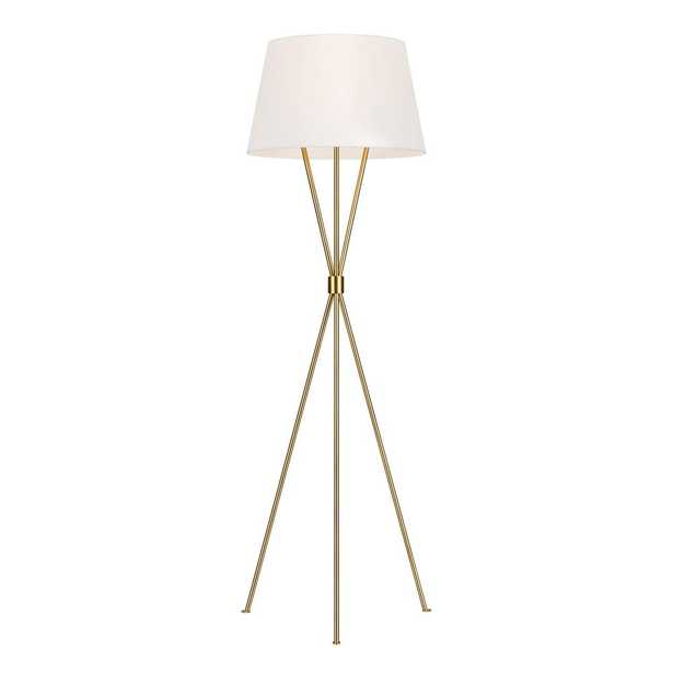 Visual Comfort Group Penny 55.125 in. Burnished Brass Floor Lamp with White Linen Shade - Home Depot
