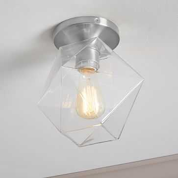 Sculptural Glass Flushmount, Small, Clear Shade, Polished Chrome Canopy - West Elm