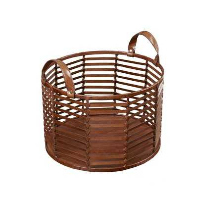 Newport Stripe Leather Basket - Wayfair