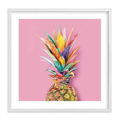 Pineapple Crown Wall Art by Minted(R), 11 x 11, White - Pottery Barn Teen