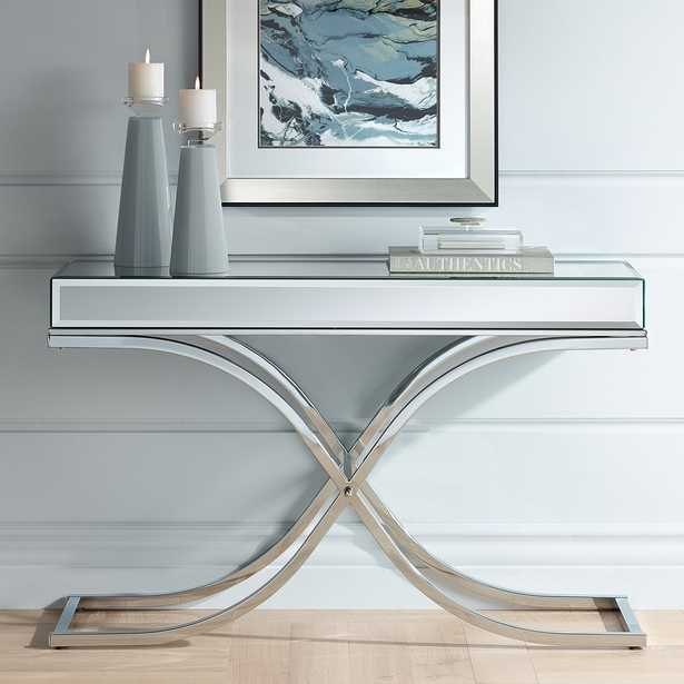 Desiree Silver Mirror Top and Chrome Console Table - Style # 46Y80 - Lamps Plus