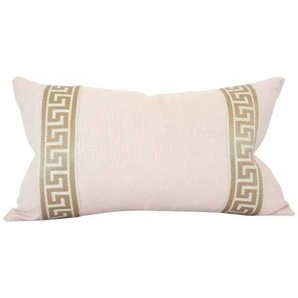 Pale Pink Linen with Greek Key Border Lumbar - 12x18 pillow cover (lumbar - small) - Arianna Belle