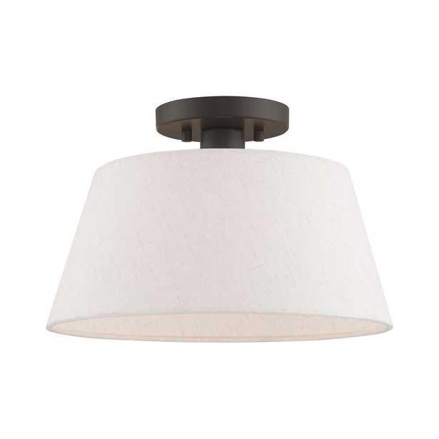 Livex Lighting Belclaire 13 in. 1-Light English Bronze Semi-Flush Mount Light - Home Depot